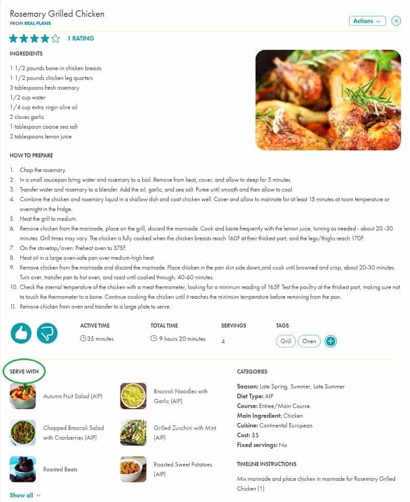 real plans recipe serving suggestions a