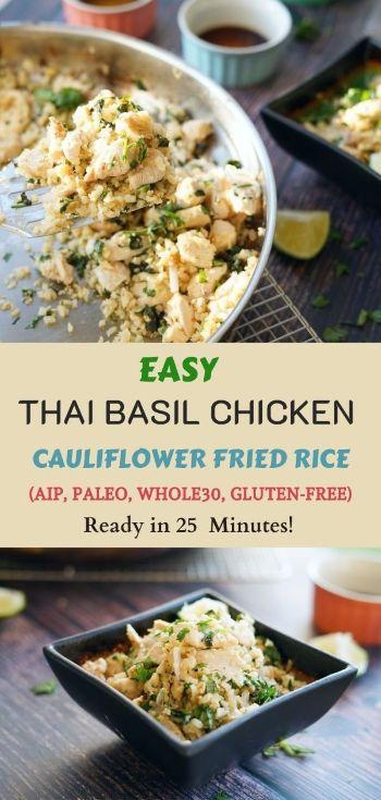 Pad Khao Krapow aip cauliflower fried rice