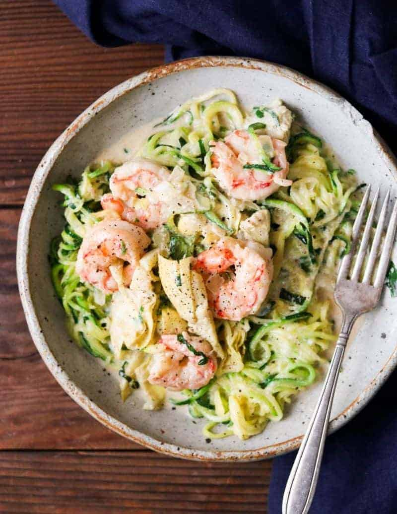 aip shrimp alfredo with zucchini noodles